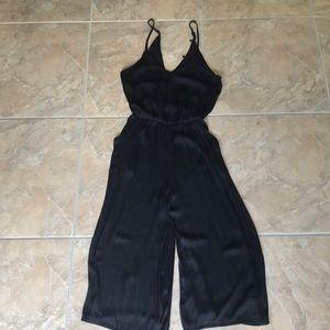 Pants - Black Satin Jumpsuit